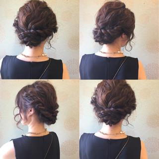 ヘアアレンジ 編み込み 黒髪 結婚式 ヘアスタイルや髪型の写真・画像