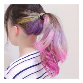 ロング ピンク ストリート パープル ヘアスタイルや髪型の写真・画像