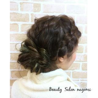 ナチュラル かわいい セミロング 編み込み ヘアスタイルや髪型の写真・画像