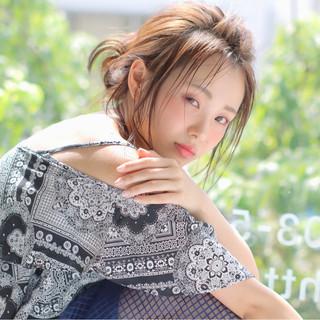 お団子 ミディアム 簡単ヘアアレンジ ピュア ヘアスタイルや髪型の写真・画像