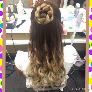 和装 ハーフアップ 甘め ヘアアレンジ ヘアスタイルや髪型の写真・画像
