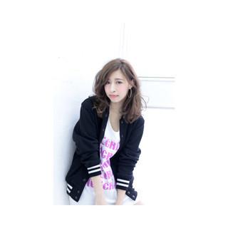 ピンク ゆるふわ ミディアム 外国人風 ヘアスタイルや髪型の写真・画像