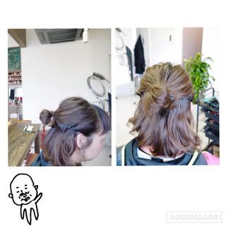 ハーフアップ ヘアアレンジ お団子 ショート ヘアスタイルや髪型の写真・画像 ヘアスタイルや髪型の写真・画像