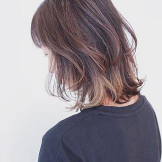 アウトドア ボブ 外国人風カラー バレイヤージュ ヘアスタイルや髪型の写真・画像