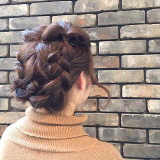 ヘアアレンジ 編み込み セミロング くるりんぱ ヘアスタイルや髪型の写真・画像 ヘアスタイルや髪型の写真・画像