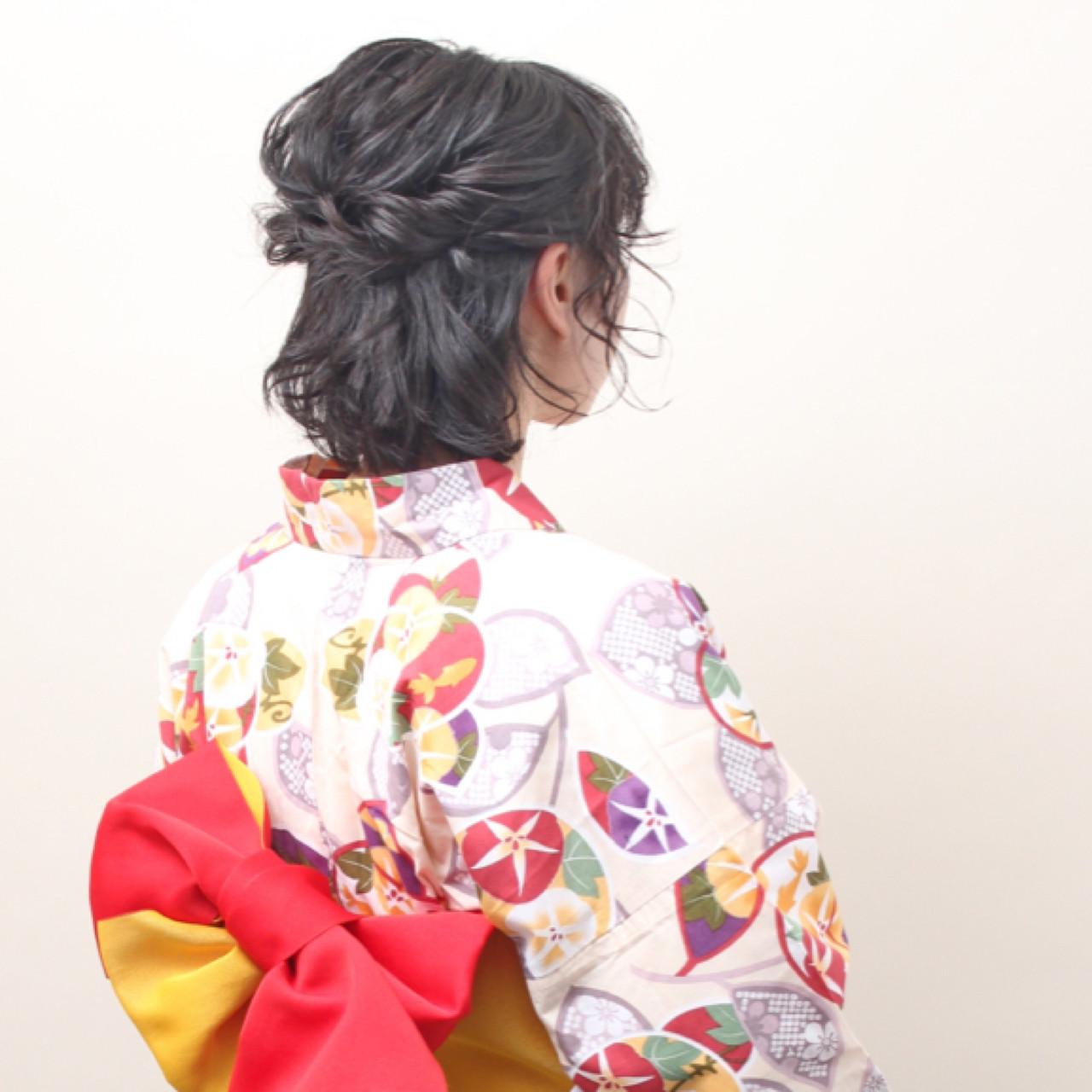 ボブ ハーフアップ 花火大会 ナチュラル ヘアスタイルや髪型の写真・画像 | 上杉 / 大阪