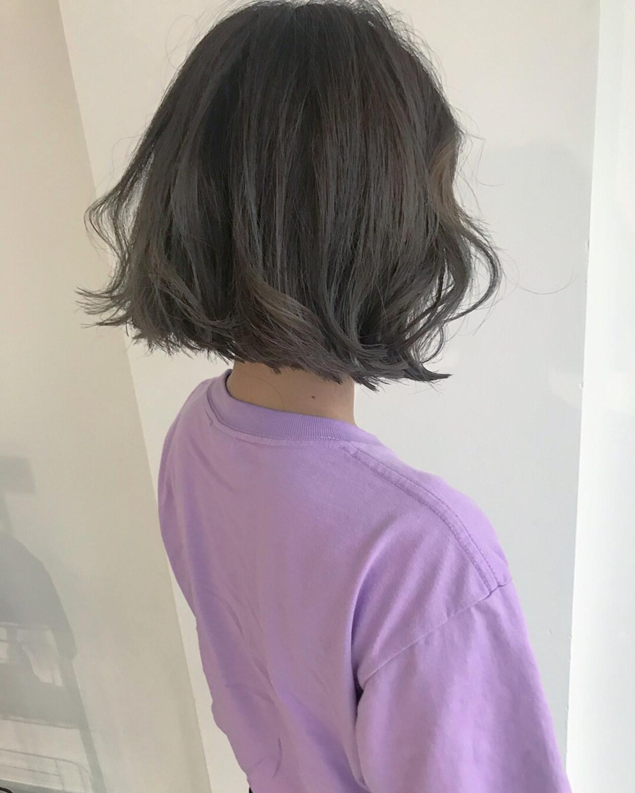 デート ゆるふわ オフィス ボブ ヘアスタイルや髪型の写真・画像 | YUJI / LIICHI / LIICHI (リイチ)