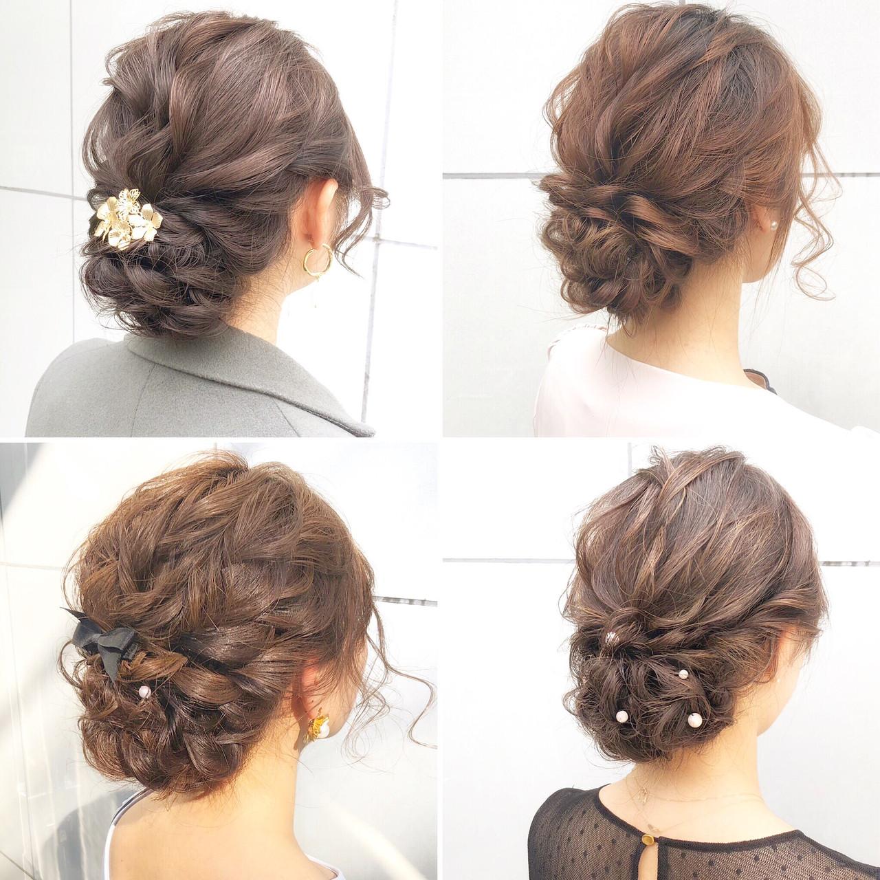 ナチュラル 結婚式 ヘアアレンジ オフィス ヘアスタイルや髪型の写真・画像