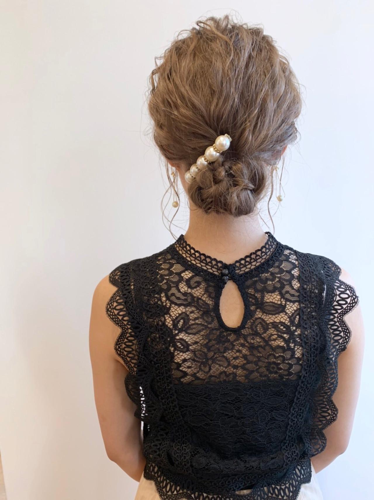 ヘアアレンジ ミディアム ヘアセット ブライダル ヘアスタイルや髪型の写真・画像