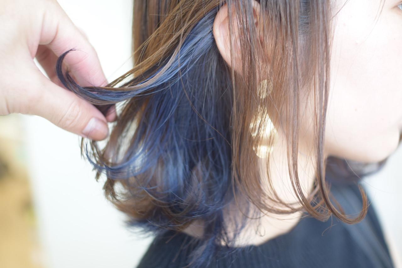 インナーカラー ネイビーアッシュ ショートヘア ショート ヘアスタイルや髪型の写真・画像