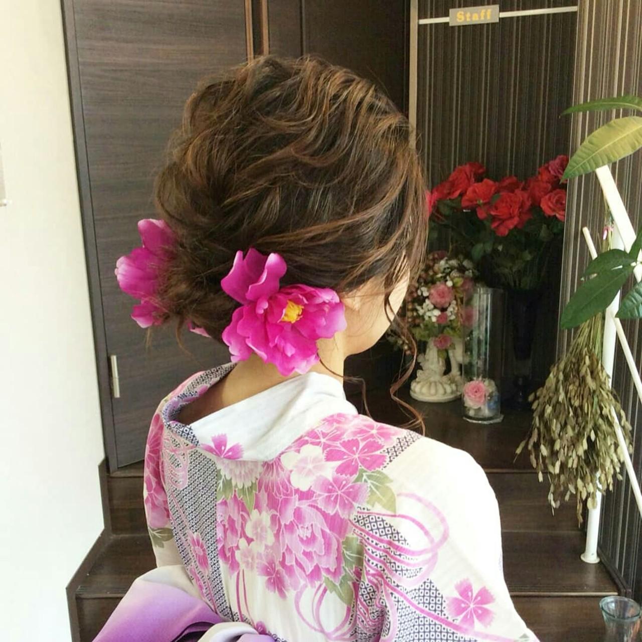 和装 ナチュラル ヘアアレンジ 編み込み ヘアスタイルや髪型の写真・画像