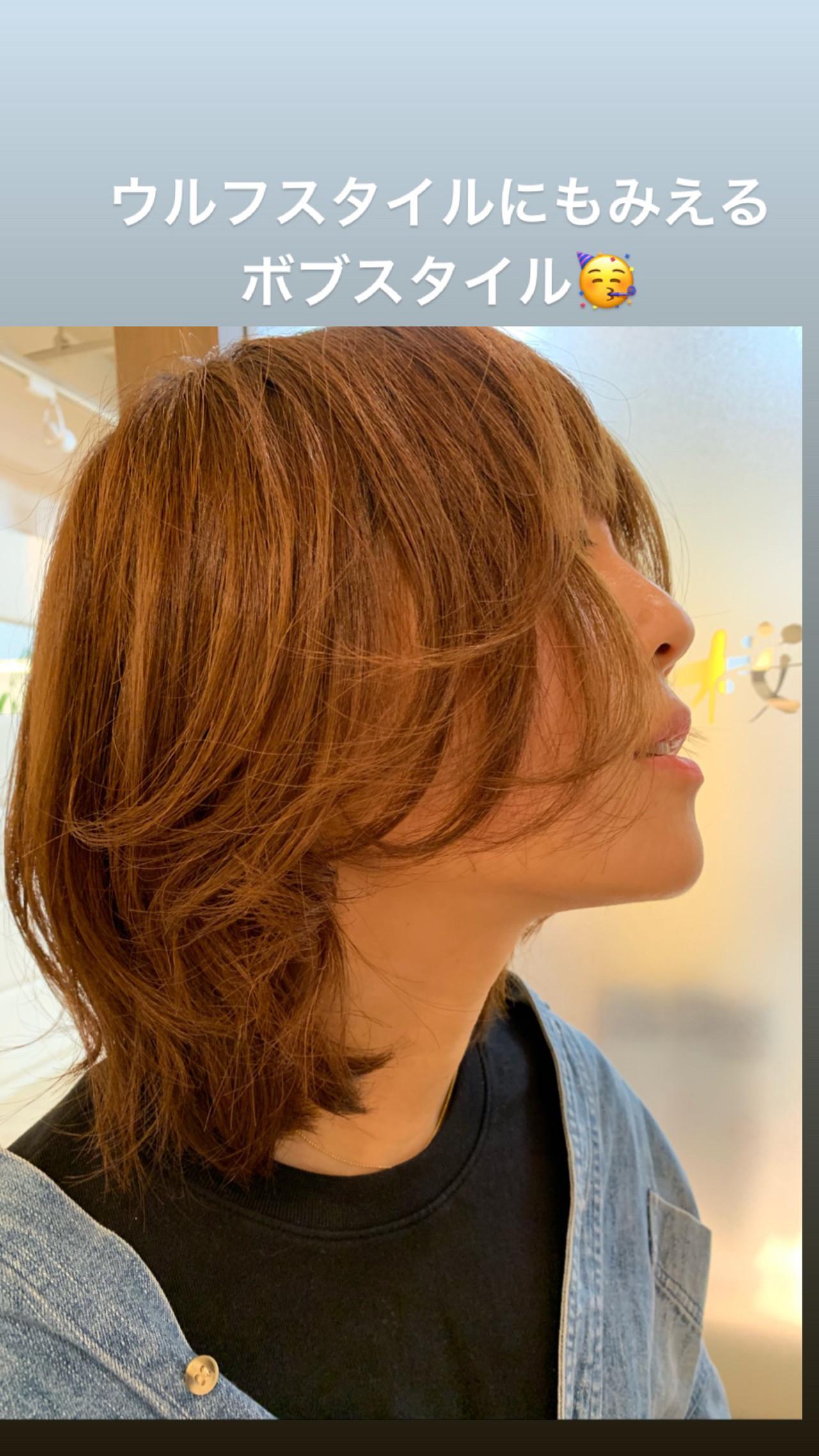 ミディアム 切りっぱなしボブ ミニボブ ショートボブ ヘアスタイルや髪型の写真・画像