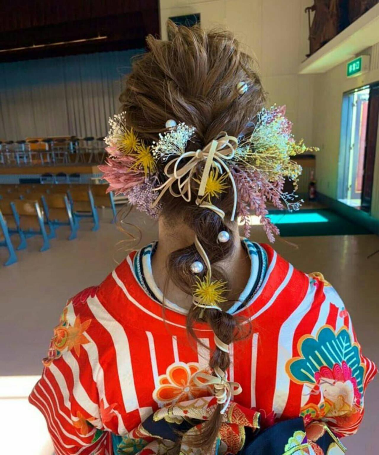 成人式 ガーリー ヘアアレンジ 成人式ヘア ヘアスタイルや髪型の写真・画像