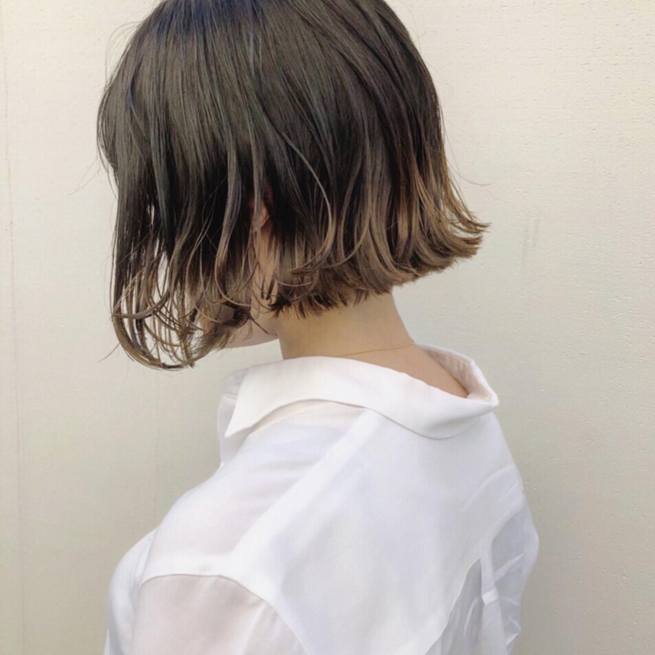 グラデーションカラー ボブ ストリート グレージュ ヘアスタイルや髪型の写真・画像 | 野口勇樹【ボブ×透けるダークトーン】 / GO TODAY渋谷