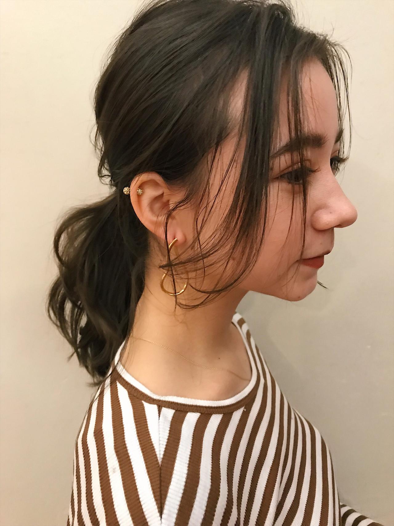 ポニーテール フェミニン ミディアム 簡単ヘアアレンジ ヘアスタイルや髪型の写真・画像