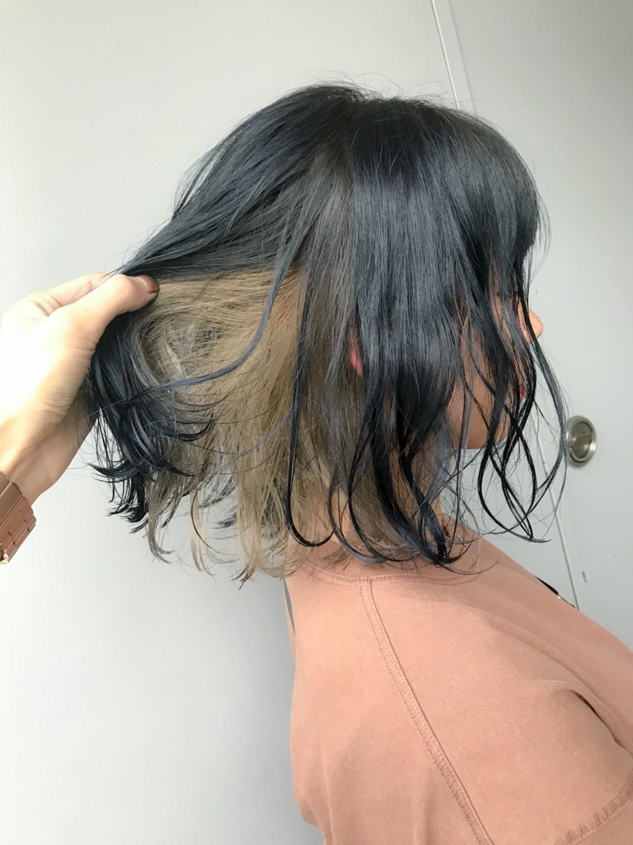 夏 ヘアアレンジ インナーカラー ミディアム ヘアスタイルや髪型の写真・画像