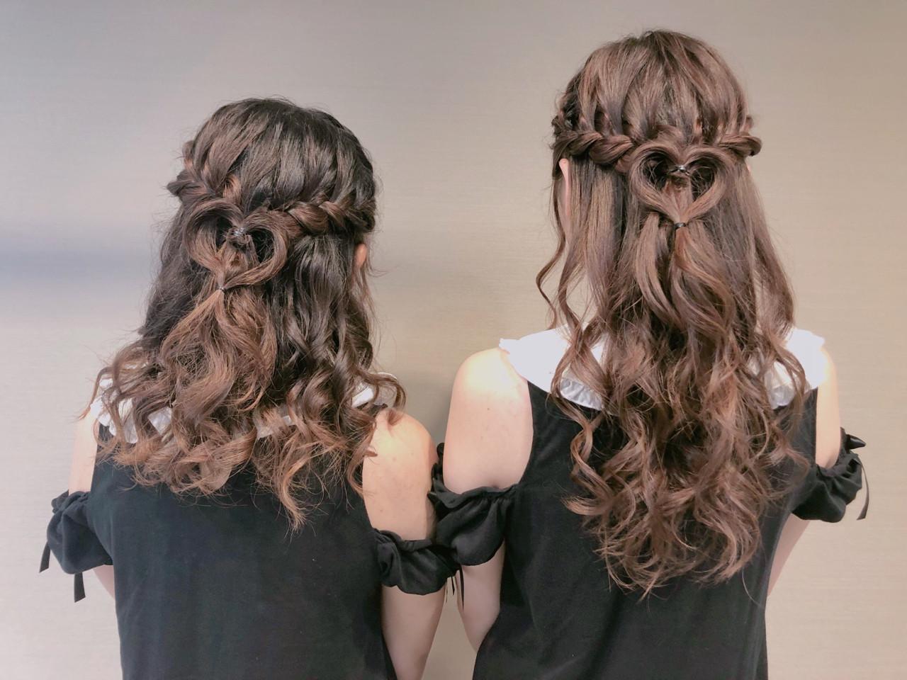 ハーフアップ ヘアアレンジ 編み込み 女子力 ヘアスタイルや髪型の写真・画像