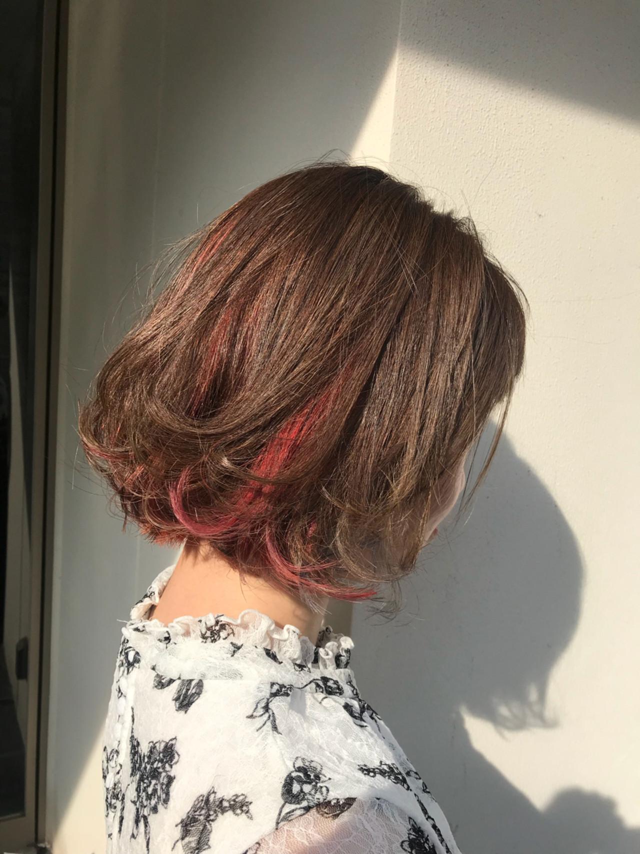 ピンク モード ハイライト ボブ ヘアスタイルや髪型の写真・画像 | hair salon ing 一柳 紀子 / hair salon ing (ヘア サロン イング)