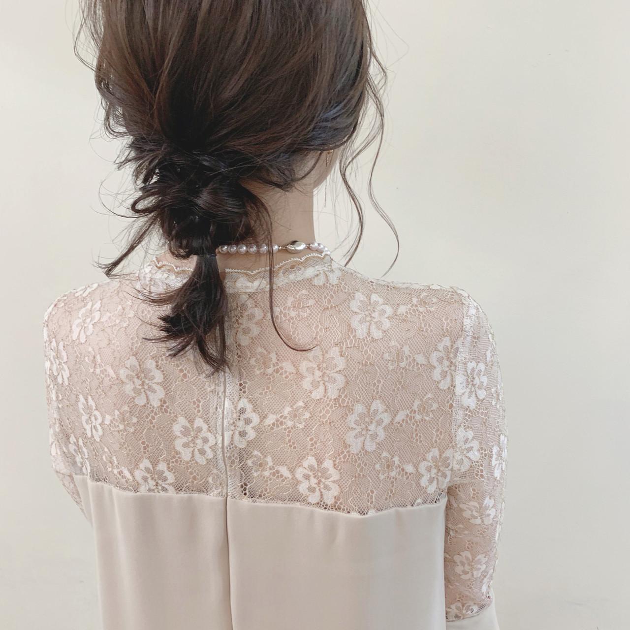 アンニュイほつれヘア 簡単ヘアアレンジ ミディアム ゆるふわ ヘアスタイルや髪型の写真・画像