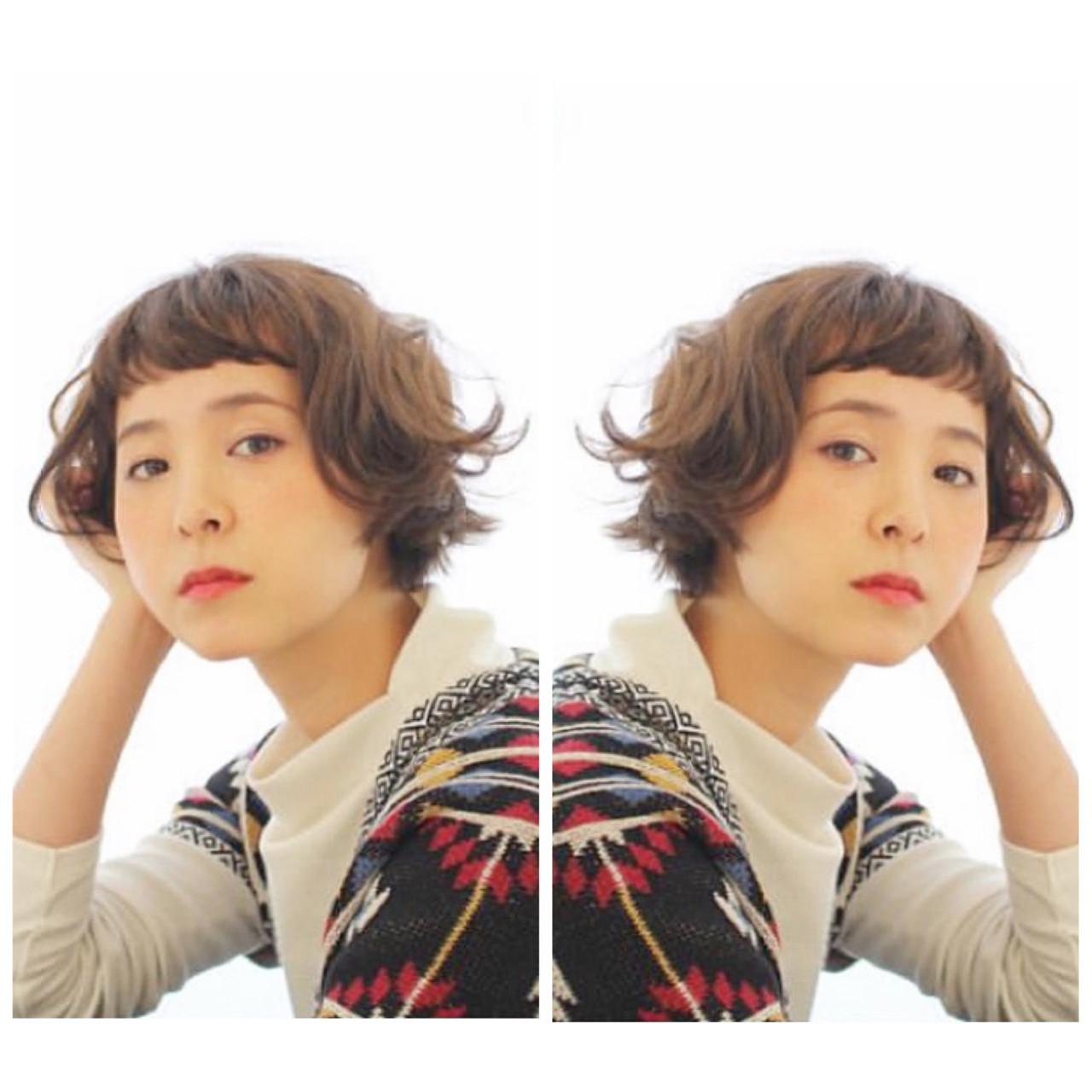 パーマ ボブ フェミニン ボブヘアー ヘアスタイルや髪型の写真・画像