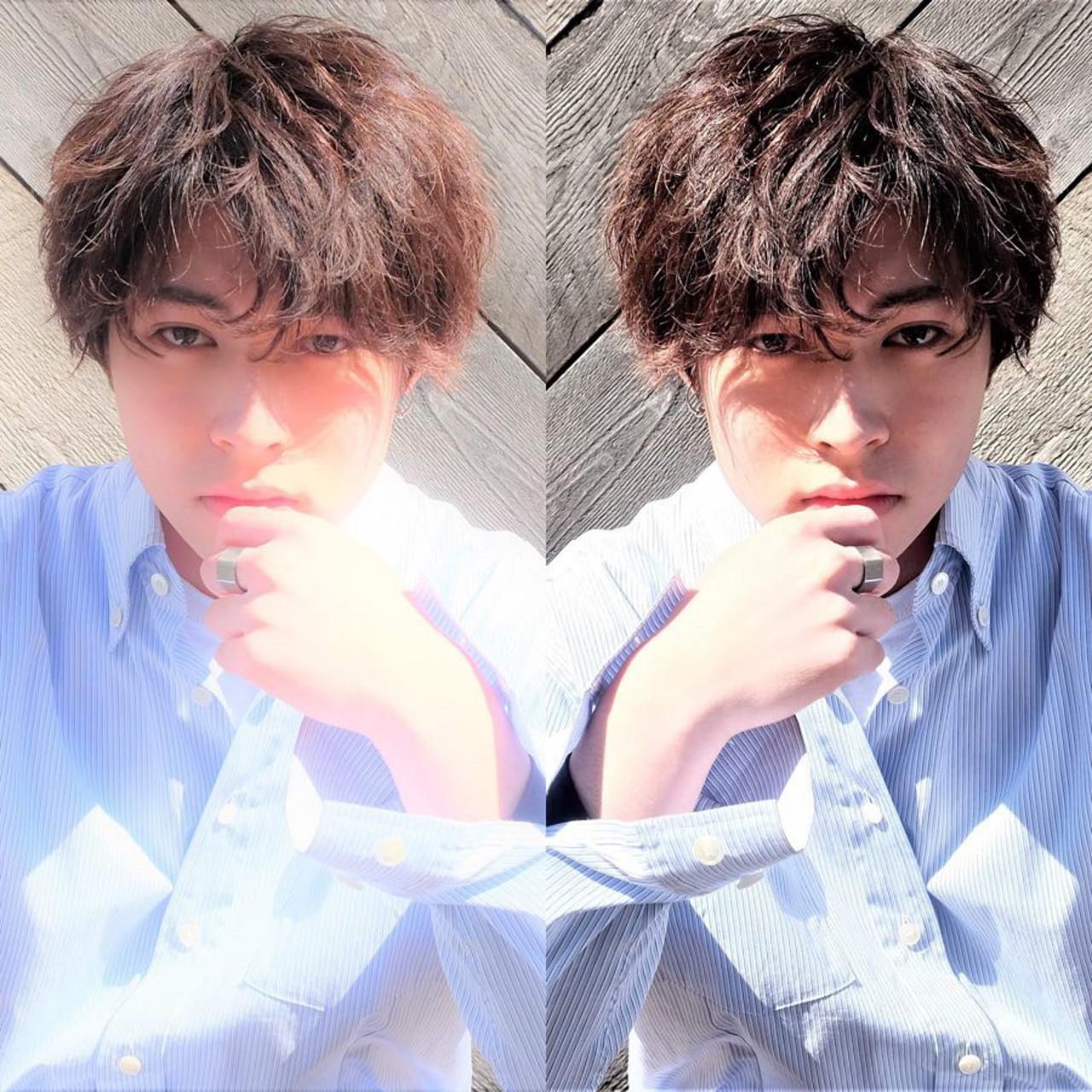 ミディアム ナチュラル メンズパーマ メンズスタイル ヘアスタイルや髪型の写真・画像