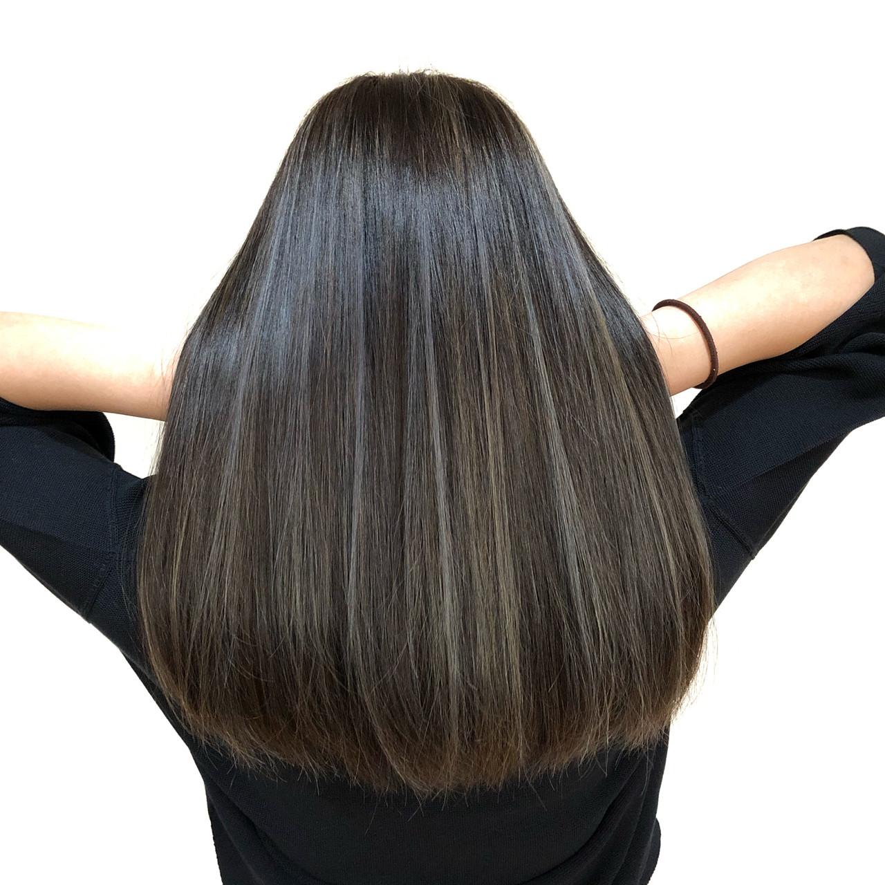 コントラストハイライト ハイライト ブリーチ ロング ヘアスタイルや髪型の写真・画像