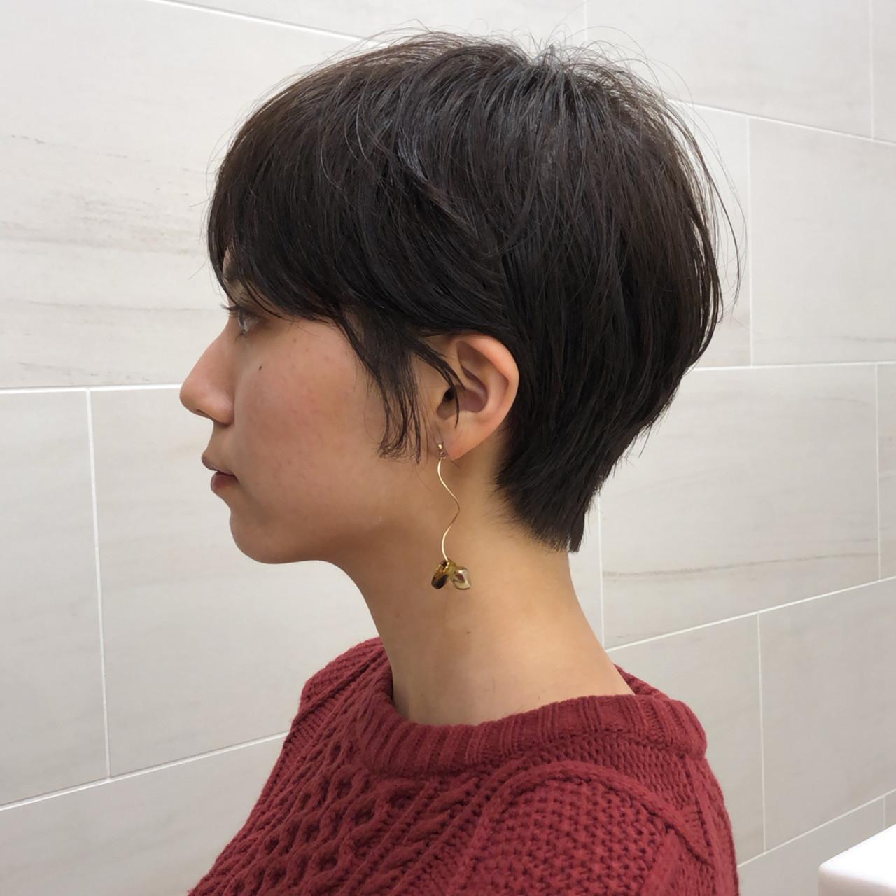 ショート 黒髪 アンニュイほつれヘア ハンサムショート ヘアスタイルや髪型の写真・画像