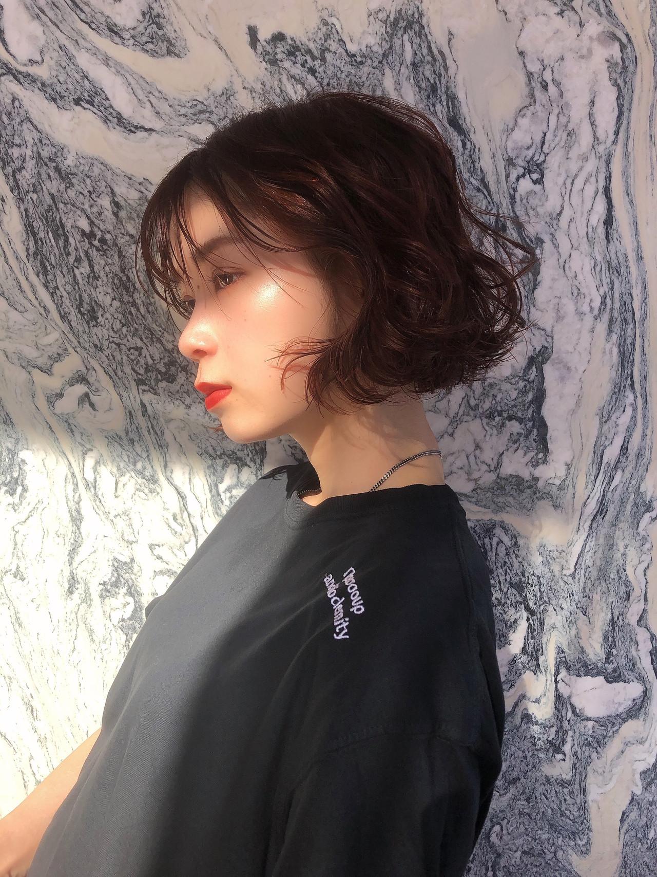 ボブ デジタルパーマ パーマ モード ヘアスタイルや髪型の写真・画像