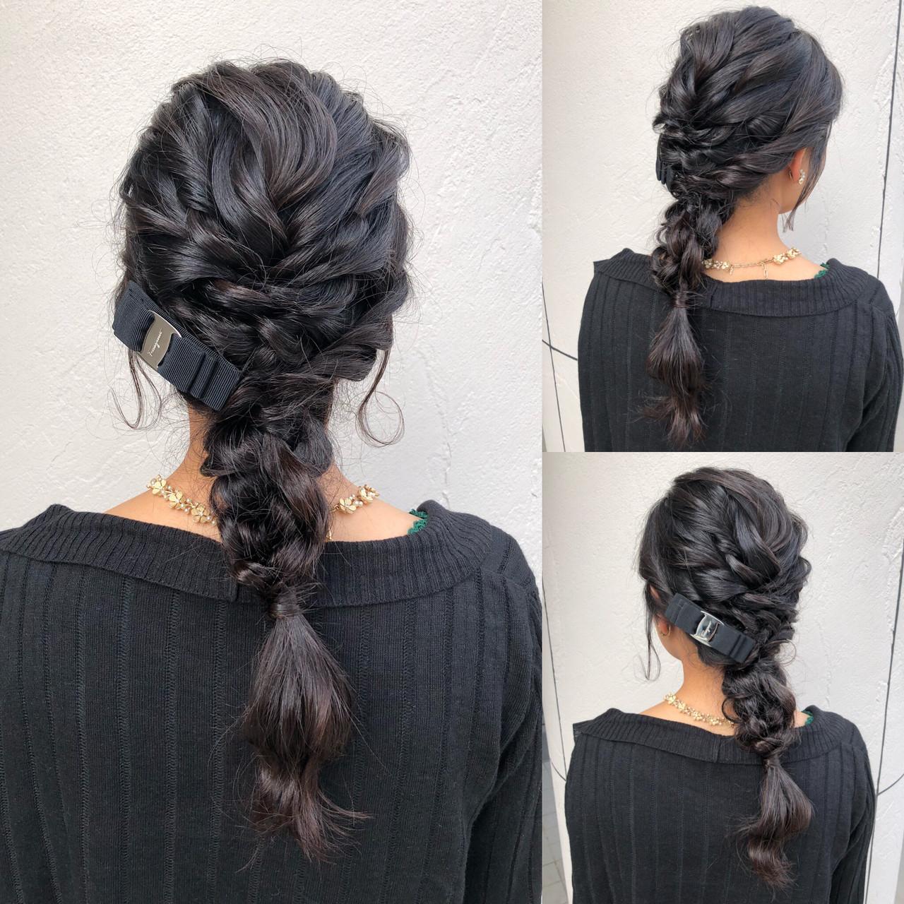 お呼ばれヘア 小顔ヘア フェミニン ロング ヘアスタイルや髪型の写真・画像