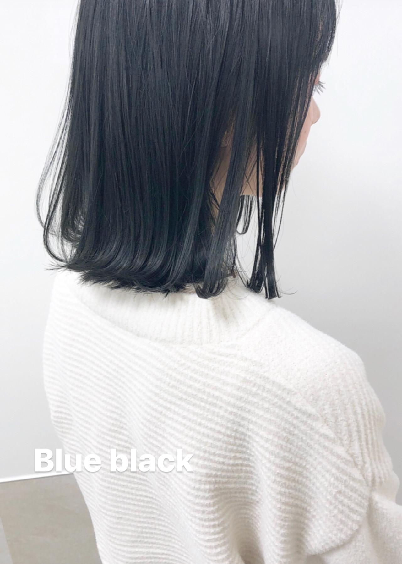 ネイビーアッシュ ミディアム ナチュラル ネイビー ヘアスタイルや髪型の写真・画像
