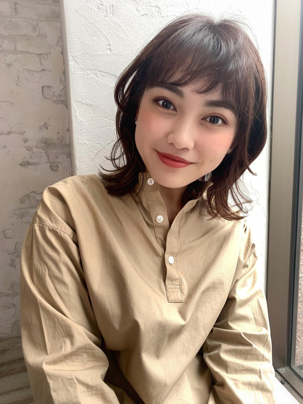 パーマ ミディアム オルチャン 韓国風ヘアー ヘアスタイルや髪型の写真・画像