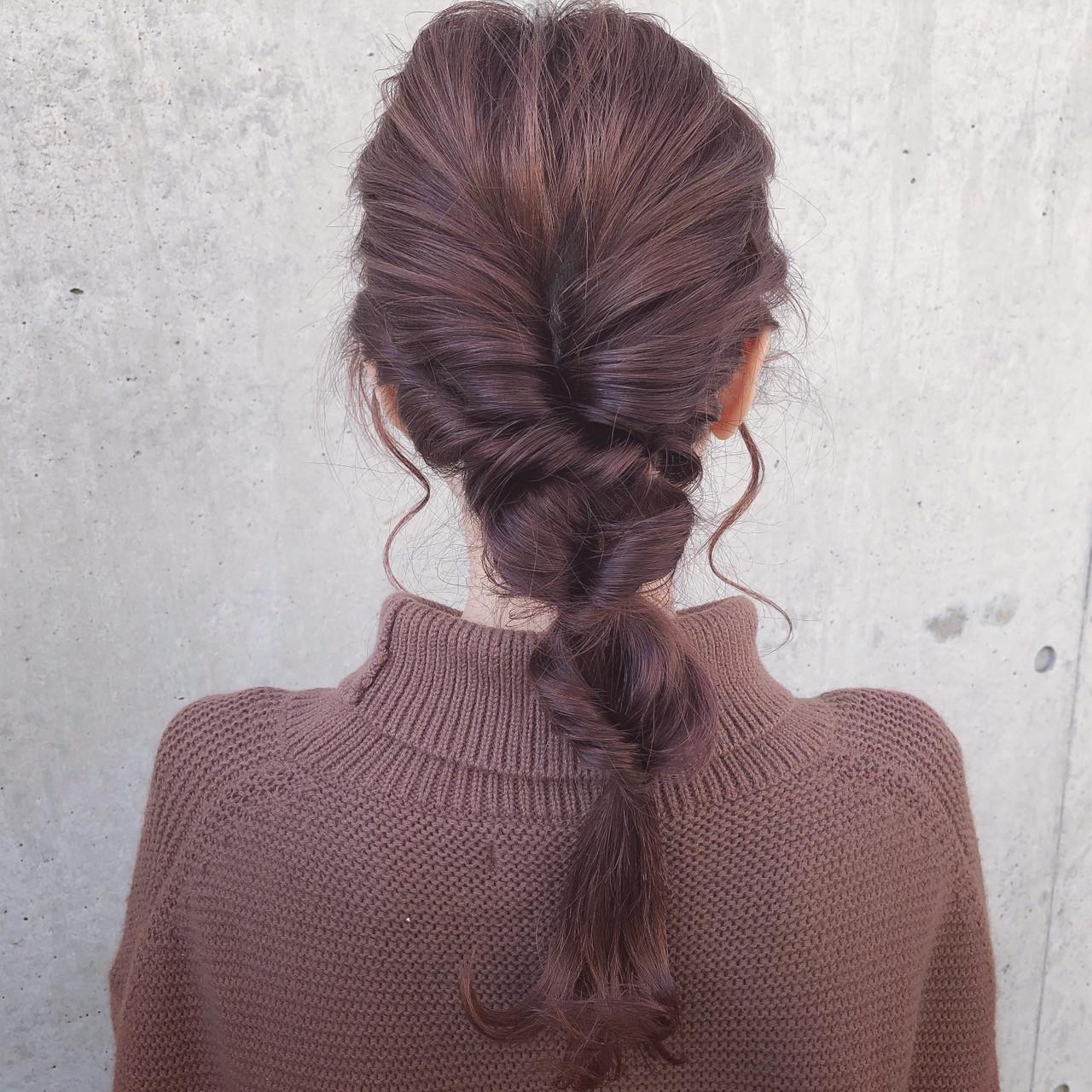 フェミニン セミロング 簡単ヘアアレンジ ヘアアレンジ ヘアスタイルや髪型の写真・画像
