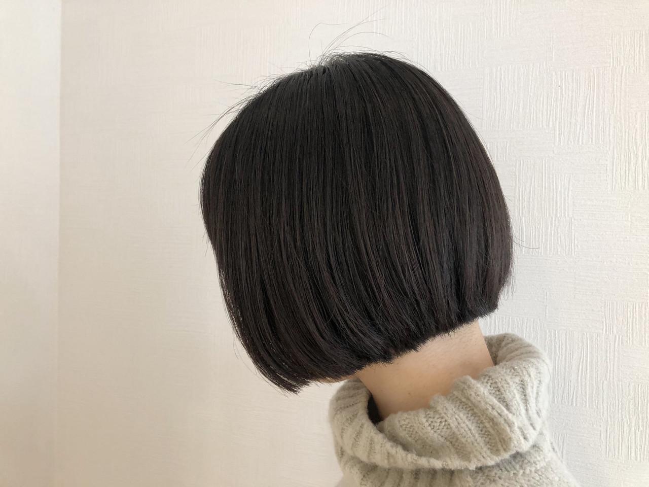 切りっぱなしボブ ショートボブ ボブ ミニボブ ヘアスタイルや髪型の写真・画像 | 牧 優子 / agu HAIR cyan