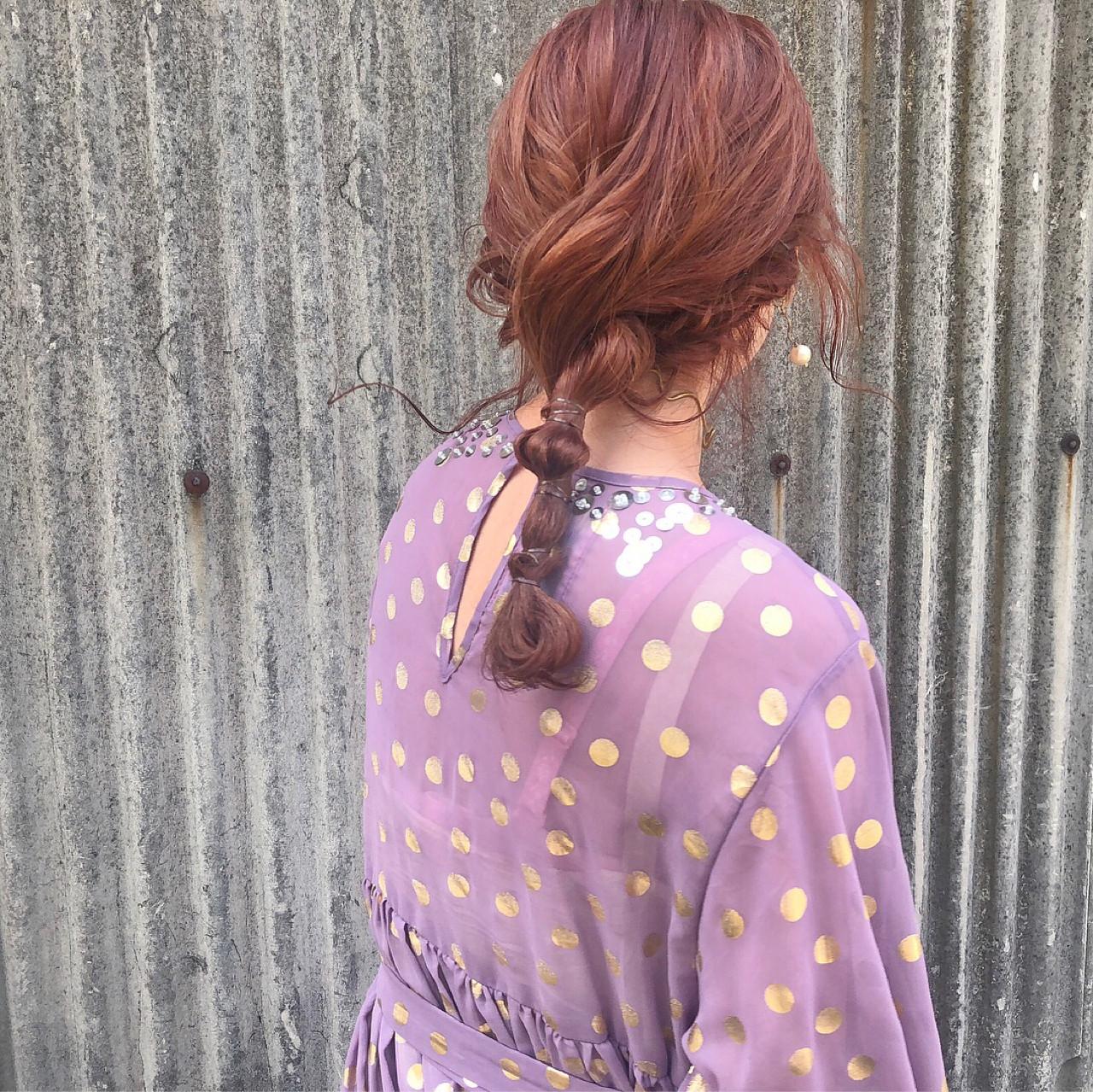 ヘアアレンジ レッド デート ピンク ヘアスタイルや髪型の写真・画像