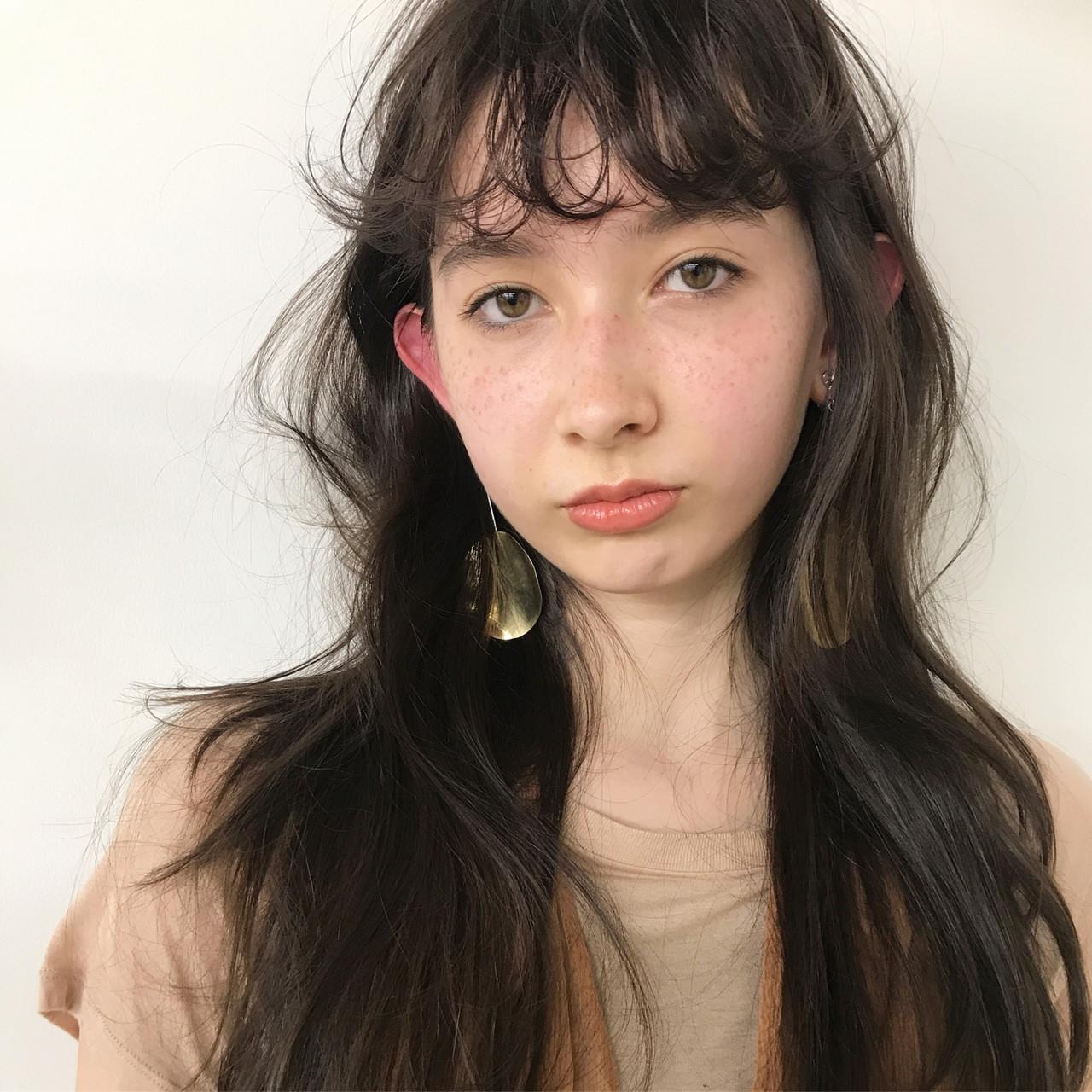 前髪パーマ セミロング ナチュラル 前髪 ヘアスタイルや髪型の写真・画像