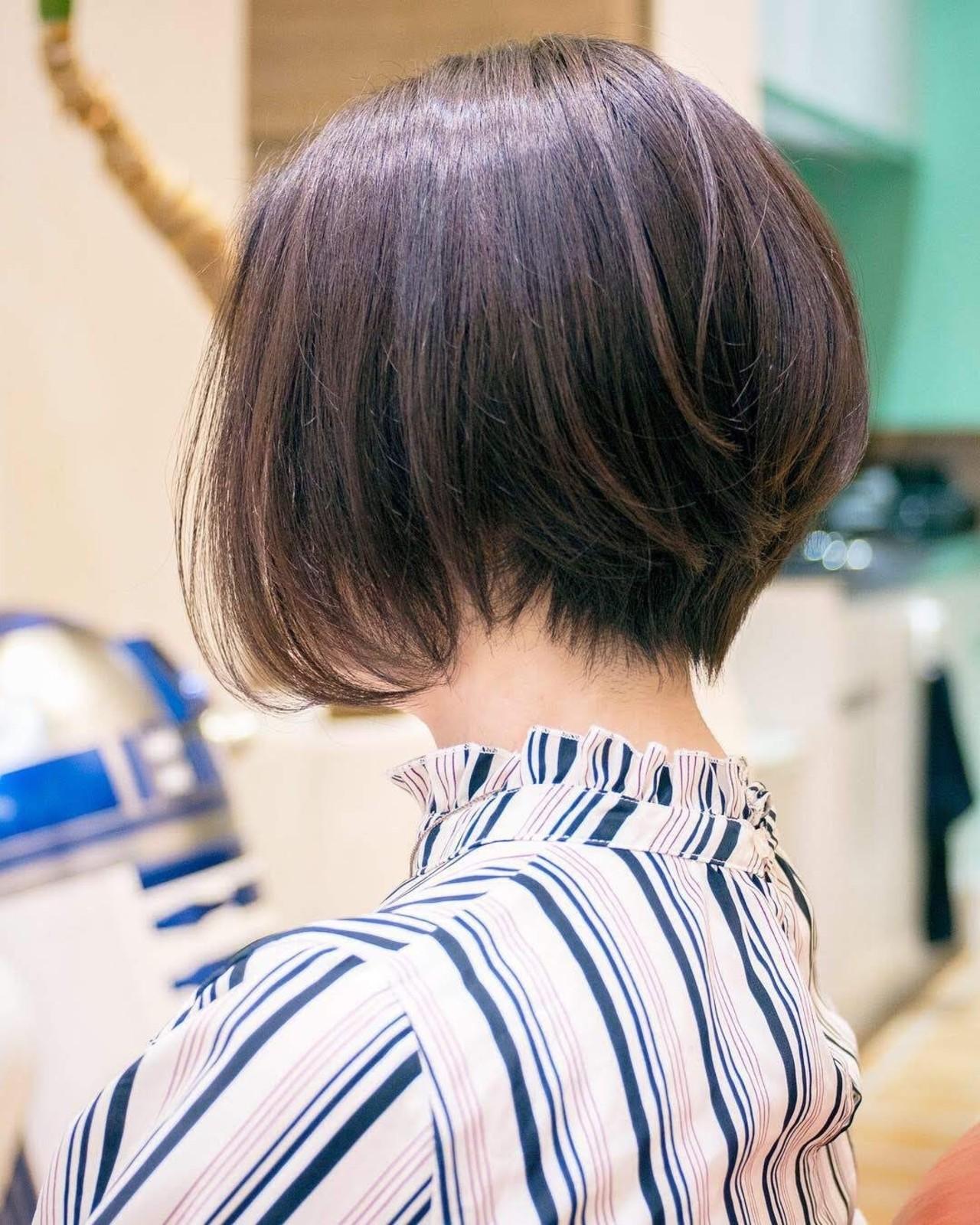 大人かわいい 前下がり ハイライト ボブ ヘアスタイルや髪型の写真・画像