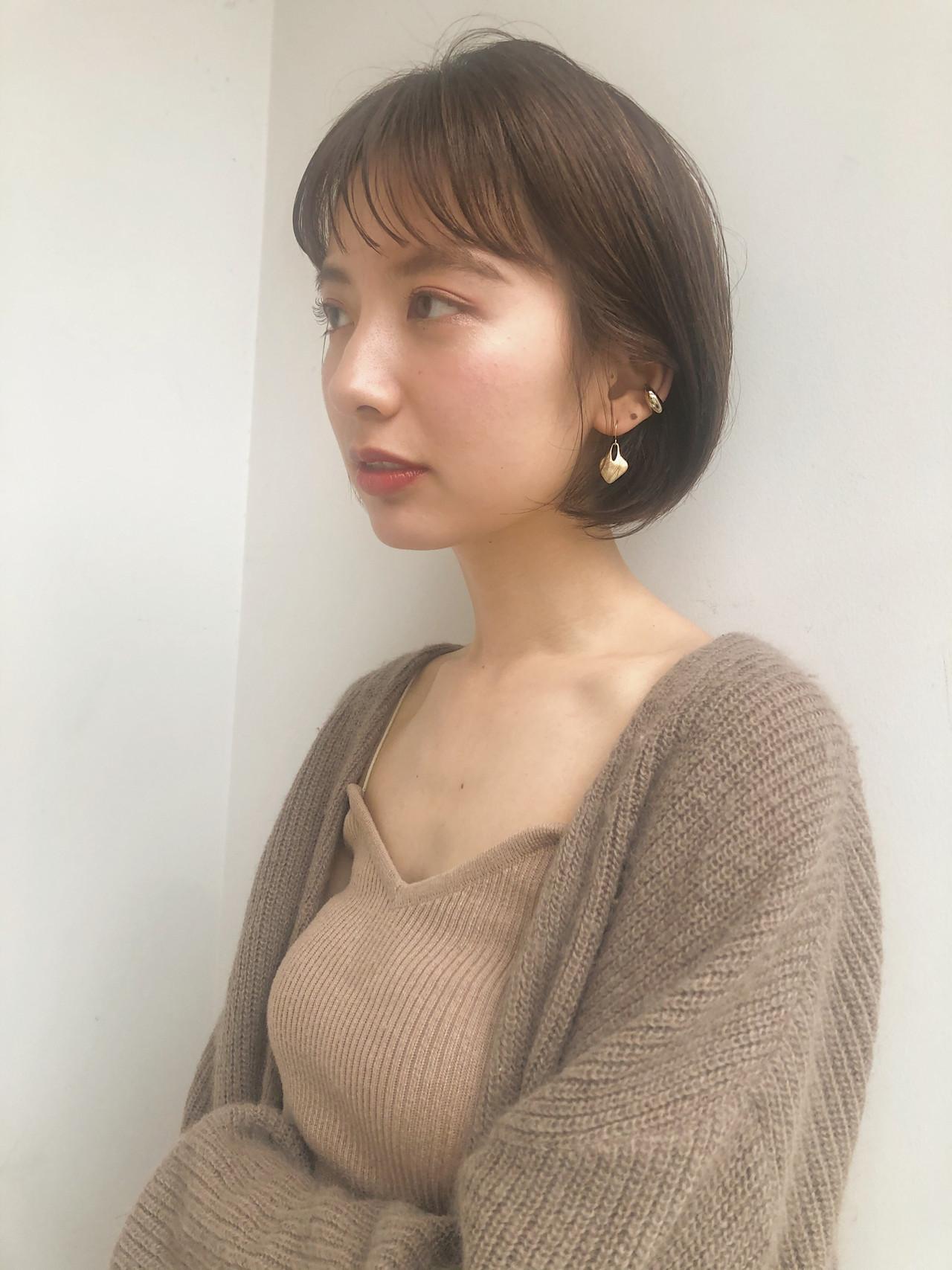 大人かわいい ミニボブ 切りっぱなしボブ ボブ ヘアスタイルや髪型の写真・画像 | MARIA / EMMA GINZA