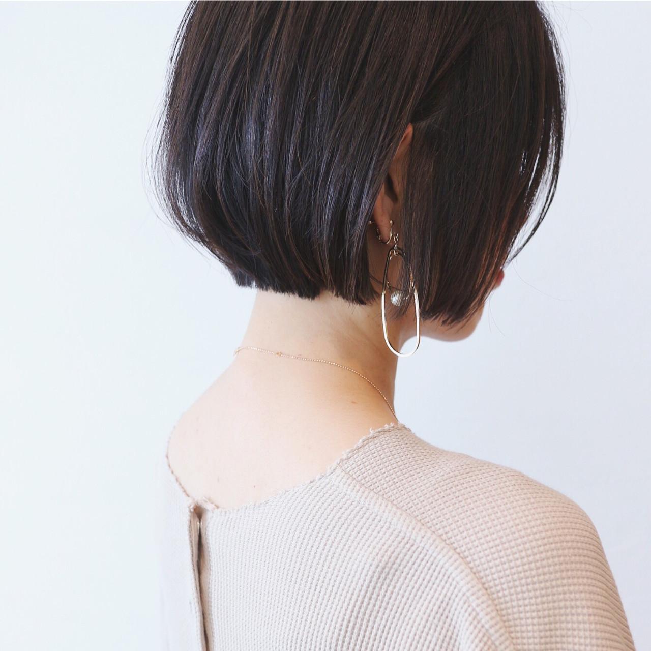 ナチュラル 地毛風カラー ショートボブ ミニボブ ヘアスタイルや髪型の写真・画像
