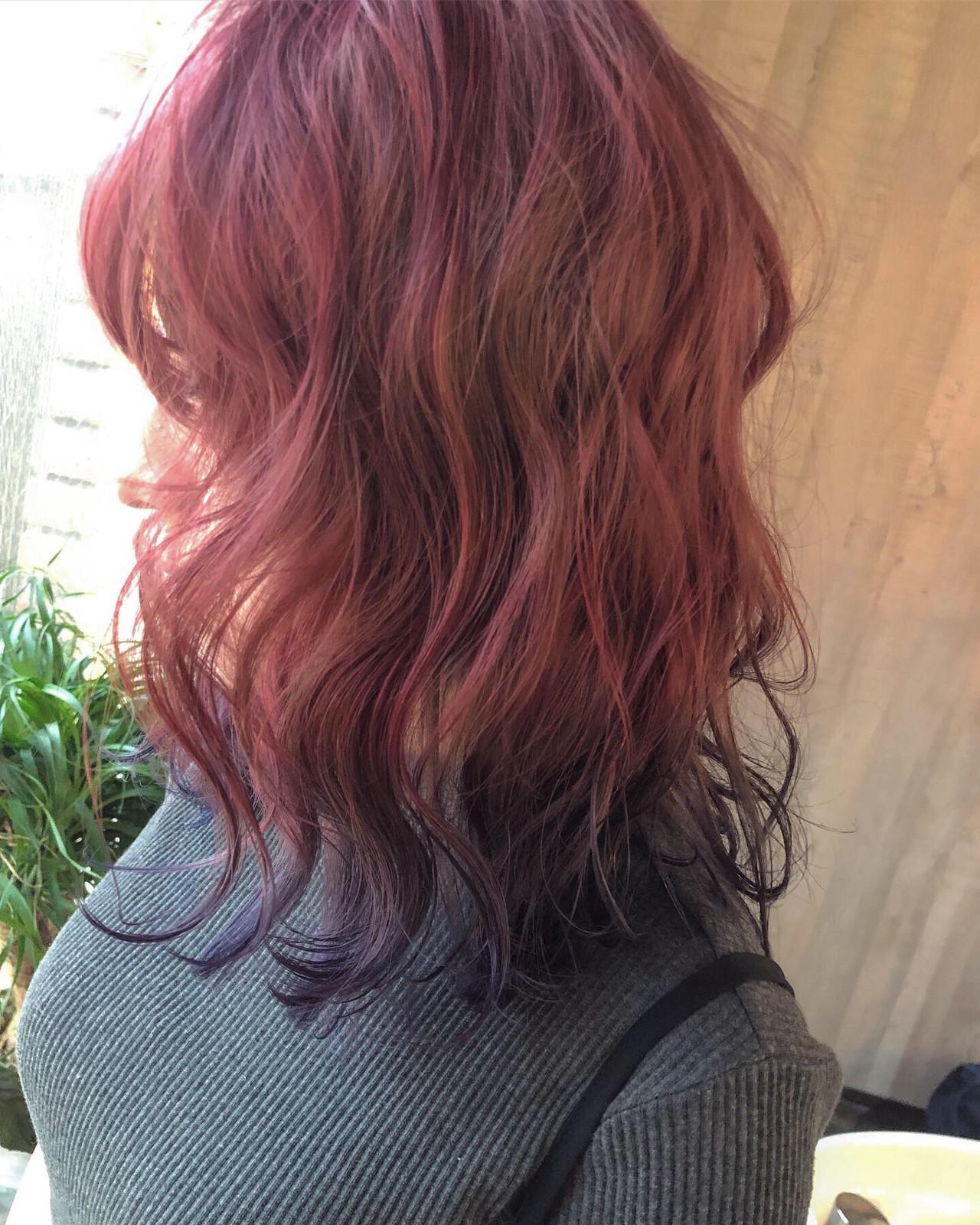 ピンクベージュ ガーリー ラベンダーピンク 裾カラー ヘアスタイルや髪型の写真・画像