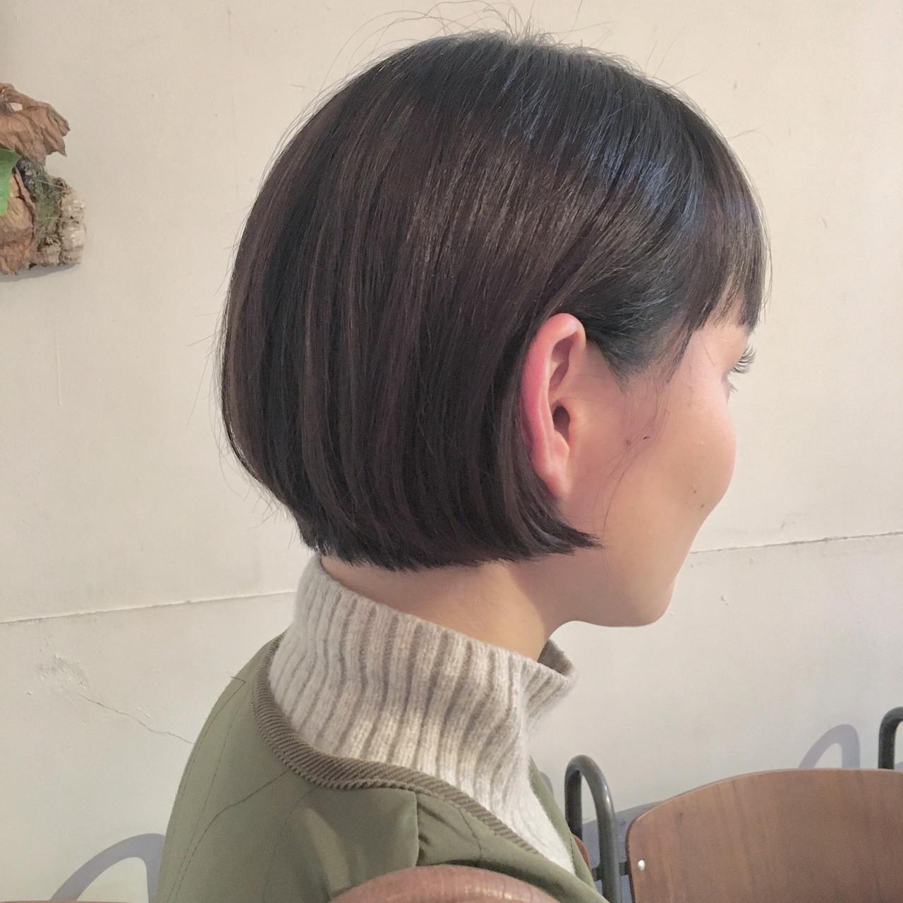 ショートボブ ミニボブ ナチュラル モテボブ ヘアスタイルや髪型の写真・画像