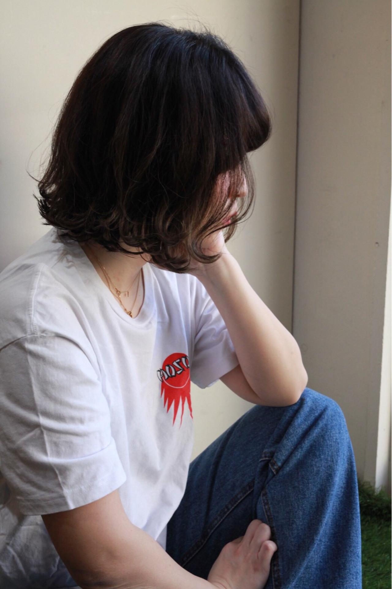 アウトドア アンニュイほつれヘア スポーツ ボブ ヘアスタイルや髪型の写真・画像 | minori..miyauchi /