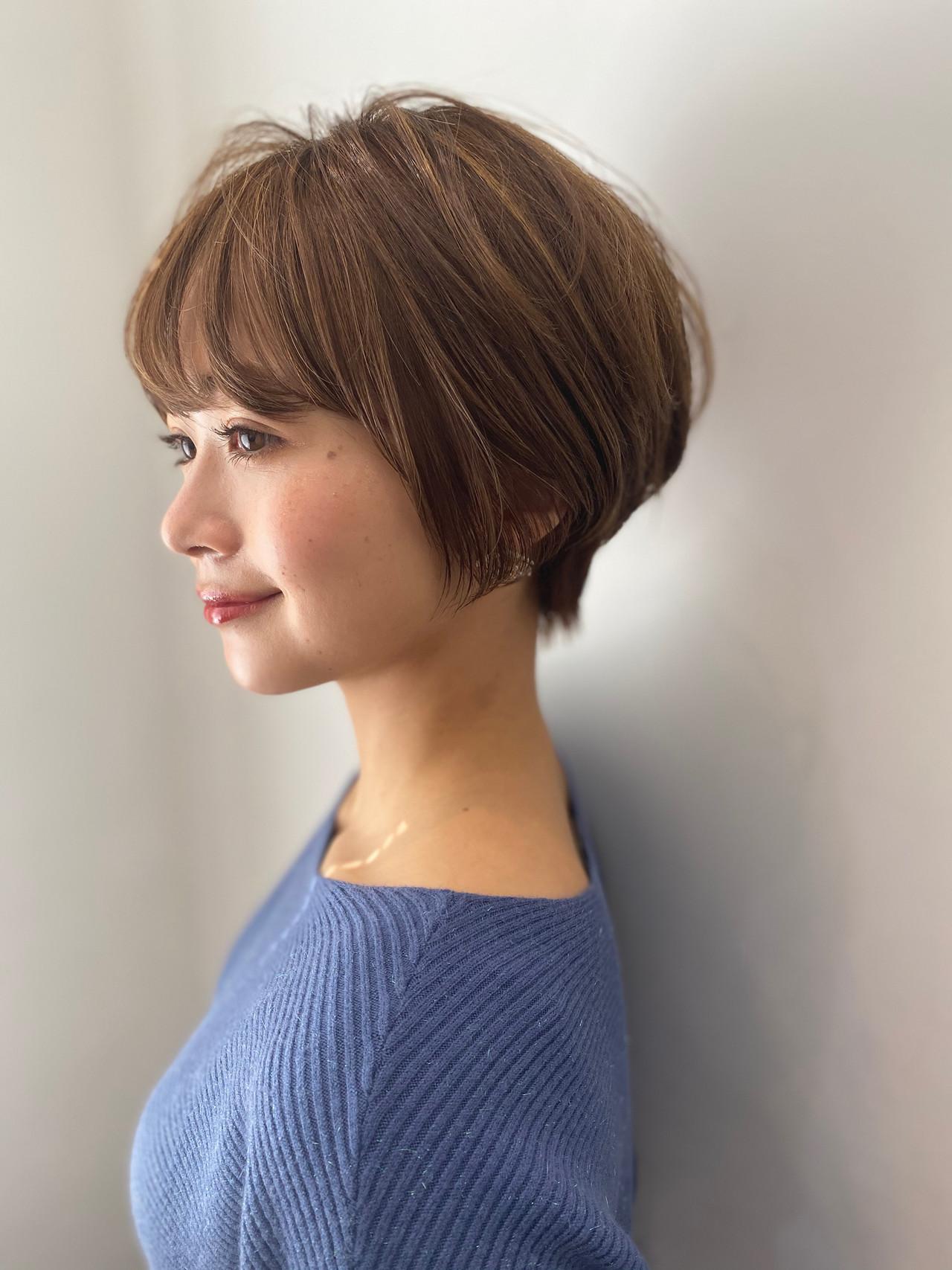 ショート ハンサムショート ナチュラル ショートボブ ヘアスタイルや髪型の写真・画像