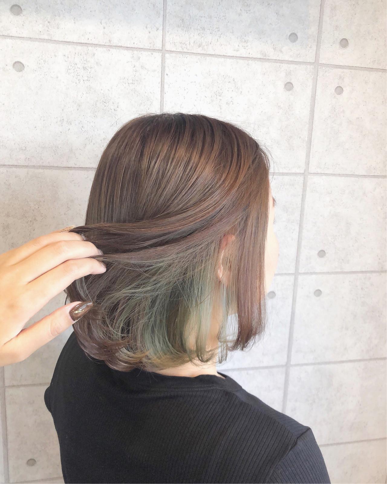 ターコイズ インナーカラー イルミナカラー ボブ ヘアスタイルや髪型の写真・画像