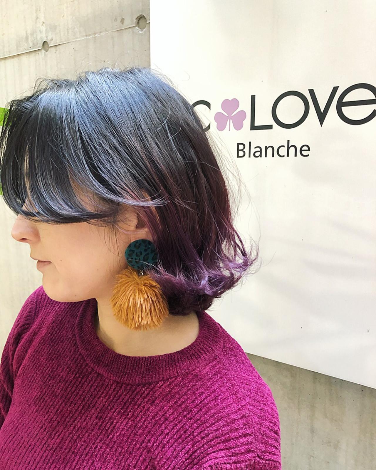 グラデーションカラー 紫 バレイヤージュ ボブ|C,LOVe 中目黒