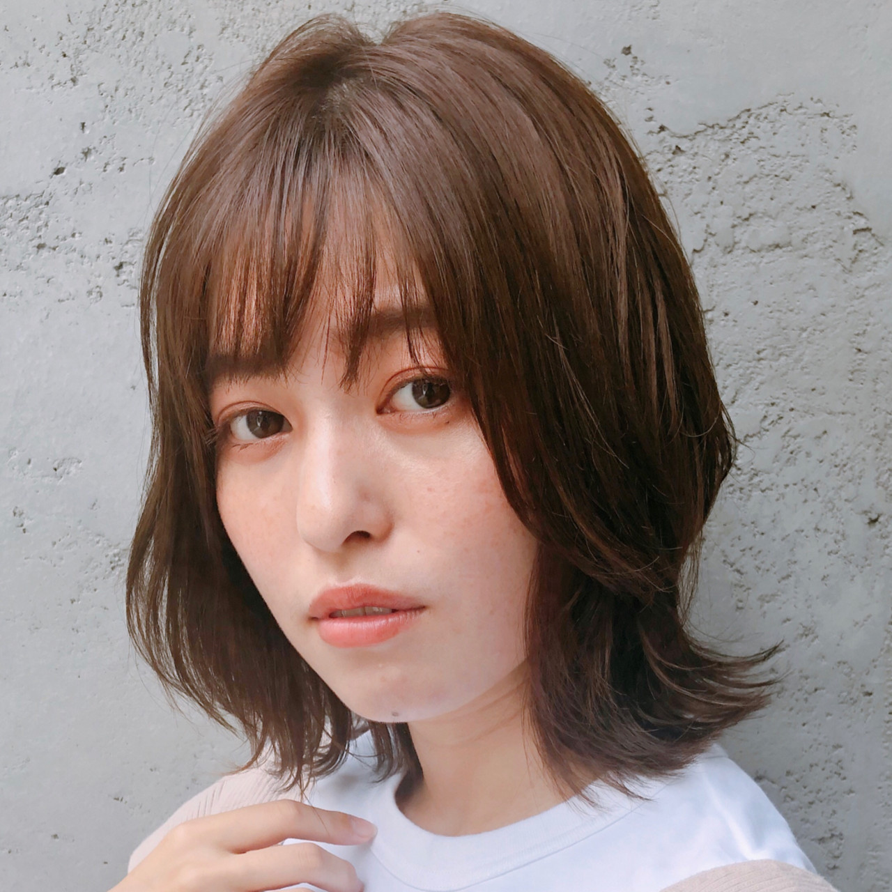 アンニュイほつれヘア オフィス ミディアム 愛され ヘアスタイルや髪型の写真・画像