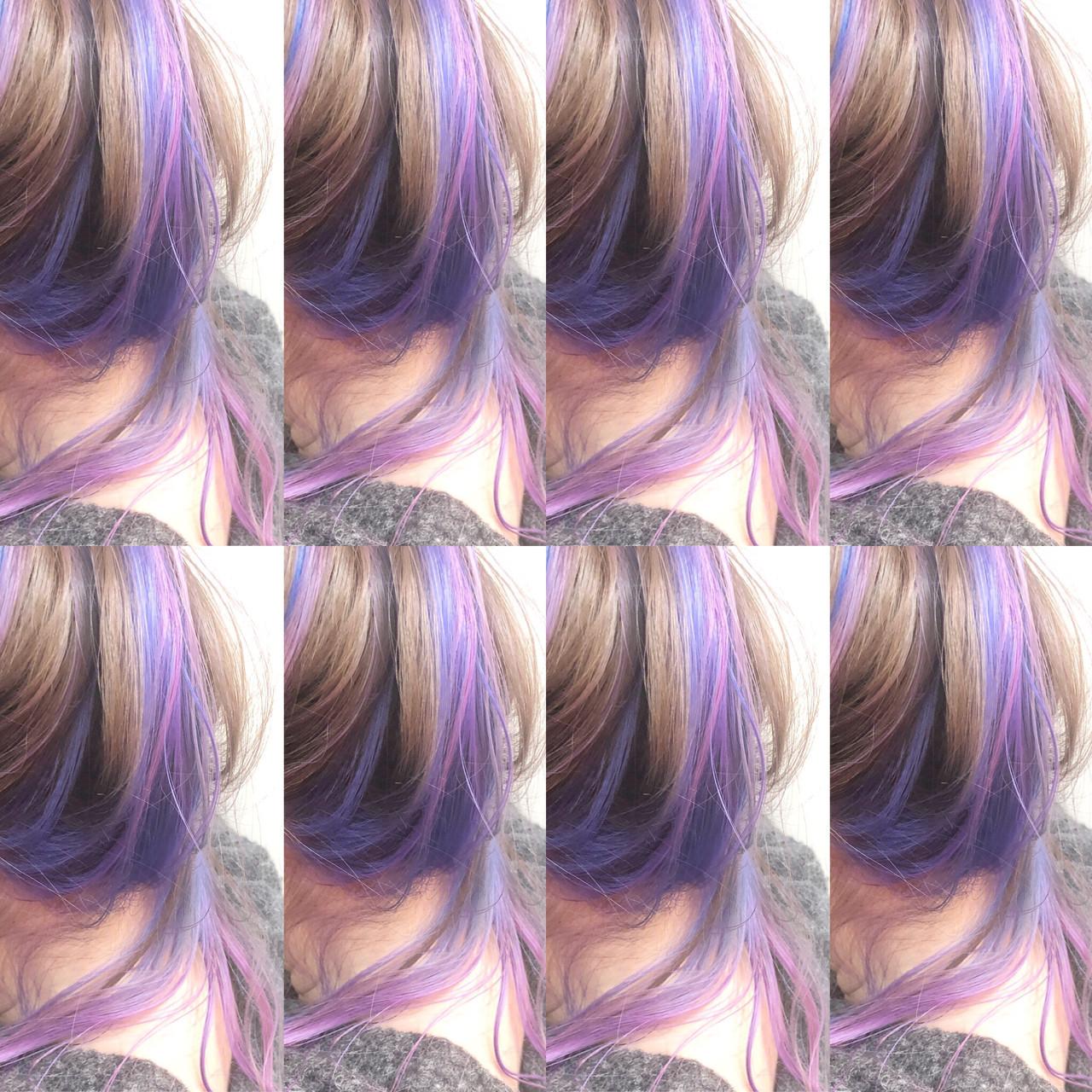 バレイヤージュ ストリート グラデーションカラー インナーカラー ヘアスタイルや髪型の写真・画像