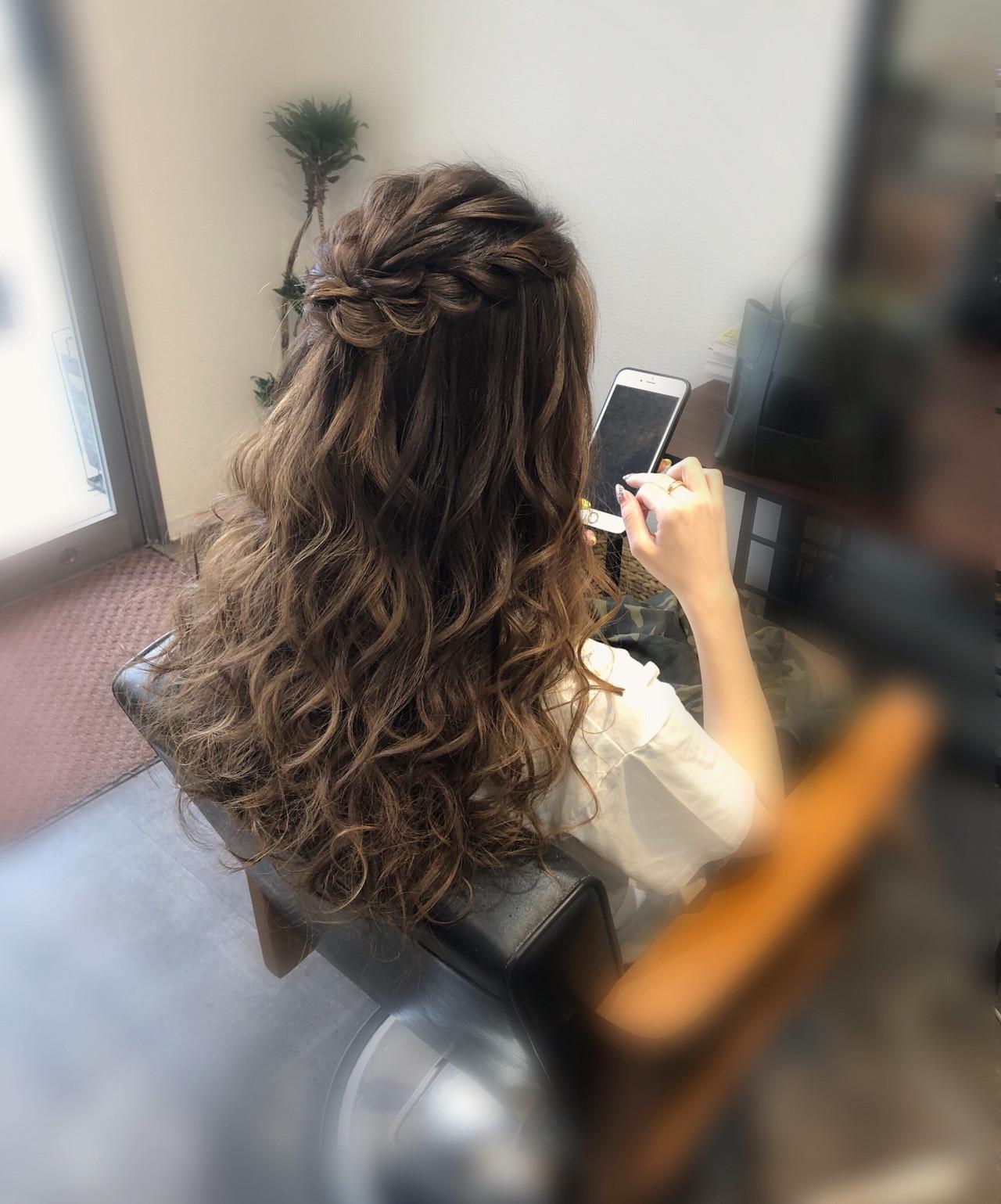 フェミニン ハーフアップ 結婚式ヘアアレンジ ヘアアレンジ ヘアスタイルや髪型の写真・画像