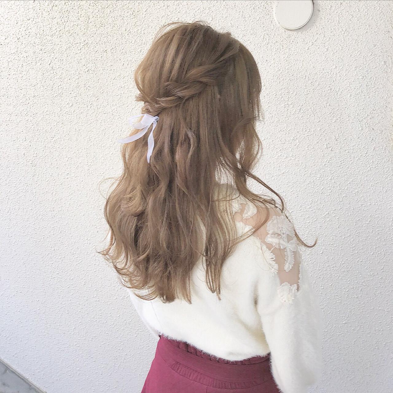 ロング ガーリー ヘアアレンジ ハーフアップ ヘアスタイルや髪型の写真・画像
