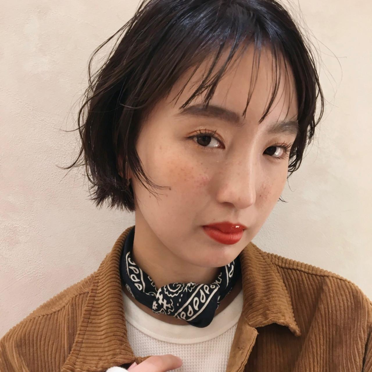 簡単スタイリング ショート ナチュラル ショートボブ ヘアスタイルや髪型の写真・画像