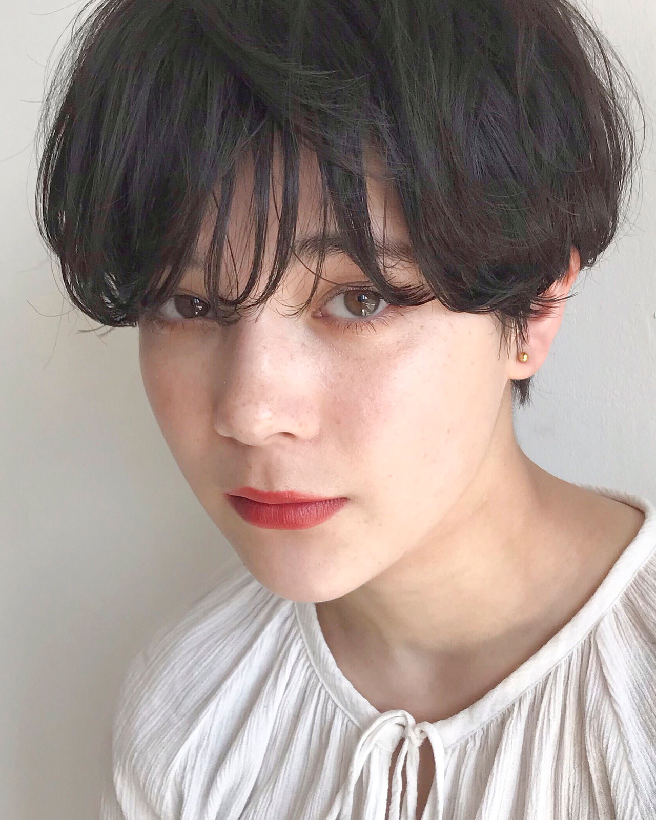 ベリーショート 黒髪 ゆるふわ ショートボブ ヘアスタイルや髪型の写真・画像